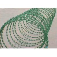 Buy cheap Green 22 Mm Length Flat Razor Wire / Concertina Razor Coil With Galvanized Surface from wholesalers