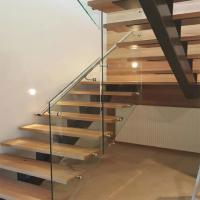 Wholesale Modern design glass railing solid wood U shape stairs/modern indoor straight staircase from china suppliers