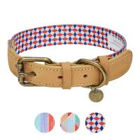 Buy cheap Polyester Webbing Genuine Leather Dog Collars Matched Leashes Available from wholesalers