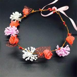 Girls Women Flower Headband Garland Artificial Wreath Handmade Foam Flowers Headwear Wedding Party Manufactures