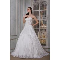Wholesale Empire Strapless Sweetheart Long Train Ivory Taffeta Wedding Bridal Gown With Lace Applique from china suppliers