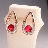 Buy cheap 2015 Hot Red Crstal Earrings Imitation Diamond Party Queen Wedding Style Luxury Earring Fashion Waterdrop Earrings from wholesalers