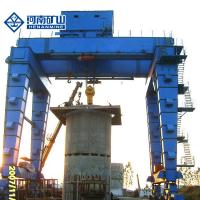 Buy cheap U Type Heavy duty Variable speed super high Super long span 50t Double Girder Hook Gantry Crane with CE ISO Proved from wholesalers