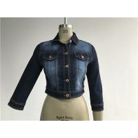 Buy cheap Dark Wash Ladies Denim Jacket Button Through Ladies Cropped Jacket TW72960 from wholesalers