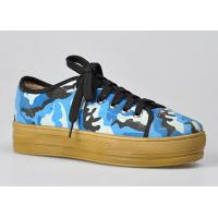 Buy cheap Camouflage High Womens Casual Flat Shoes , Blue and Lace-Up For Walking from wholesalers
