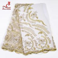 Buy cheap Factory  Heavy Tulle Beaded Embroidery Lace Fabric For Bridal Dress from wholesalers