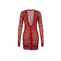 Buy cheap Red Women's Knit Cardigan Sweaters With Lace Knitting , Long Ladies Button Up Cardigans from wholesalers