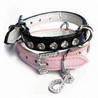 Wholesale Crystal PU Pet Dog Collar, Available in Various Sizes from china suppliers
