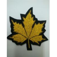 Leaf Applique Hand Embroidered Metal Thread Cannabis Bullion Patches Manufactures