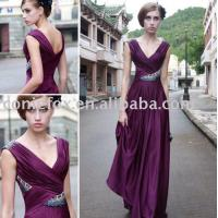 Buy cheap deep v-neck wedding guest gowns,  purple beading wedding evening dresses from wholesalers