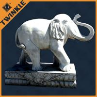 Buy cheap Garden Outdoor White Elephant Natural Stone Sculptures 100% Hand carving from wholesalers