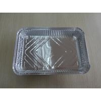 China Disposable Aluminium Foil Food Containers Rectangle With Cardboard Lid on sale