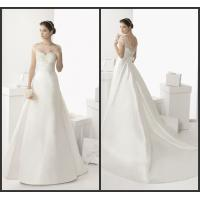 Satin Womens Wedding Dresses Off Shoulder Court Train with Flower Lace Applique Manufactures