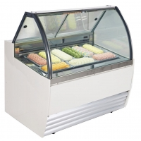 Buy cheap -18℃~-22℃ 10*1/3 Pan Glass Cabinet Vertical Fast Cooling Fridge Ice Cream Display Showcase from wholesalers