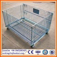Buy cheap Stackable Collapsible Steel Storage Bins Metal Cage Crate with Wheels from wholesalers
