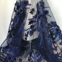 Buy cheap Navy Blue 3D Flower Lace Fabric with Pearl Beaded Applique for Ladies Dress from wholesalers