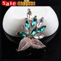 Buy cheap Big Green Flower Clusters Leaf Resin Rhinestone Diamond Clothing Brooch Pin Accessories from wholesalers