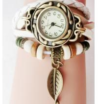 Buy cheap Fashion Weave Wrap Around Leather Bracelet Lady Woman Wrist Watch Black leaf from wholesalers