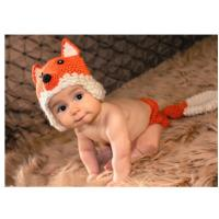 Buy cheap orange Fox baby hat cap  Baby Photography Prop Crochet Hats underwear Animal Hat Cap beani from wholesalers
