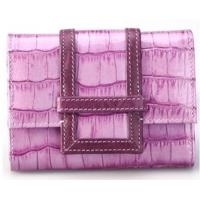 China Crocodile-embossed Leather Purple Woman Credit Card Holders Wallets on sale