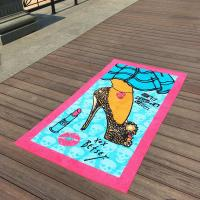 China Lavender Girl Patterned Beach Towels Beauty Lipsticks For Beach Chair Covers on sale