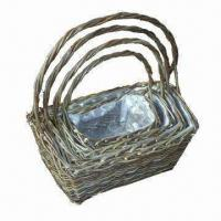 Buy cheap Willow Flower Basket with Plastic Lining and Handle, Available in Natural Brown from wholesalers