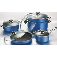 Buy cheap Blue 10pcs Ceramic Coating Nonstick Cookware Set With SS Handle from wholesalers