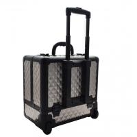 Buy cheap Cosmetic Aluminum Travel Hard Case Trolley  with 8 Leather Movable Trays Light Brown from wholesalers
