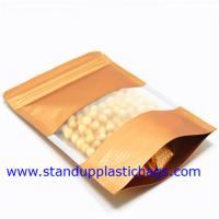 China Dried Food Packaging Kraft Zipper Pouch Bags With Sticker , Clear Window on sale