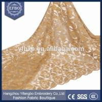 Buy cheap Gold embroidery customizable polyester net lace rose flower mesh fabric with sequins from wholesalers