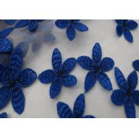 Buy cheap 49 - 50 Width Blue Flower Embroidered Stretch Lace Fabric Dress Pure Polyester from wholesalers