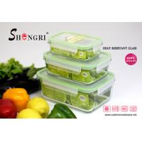 Buy cheap pyrex glass green rectangular food storage container set from wholesalers