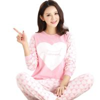 Buy cheap Spring Fall Ladies Pyjama Sets Pink Girl Long Sleeve Cotton Love Print Pajamas from wholesalers