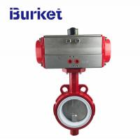 Buy cheap ANSI DIN JB Resilient  Ductile Iron Wafer Type Pneumatic Actuator Butterfly Valve from wholesalers