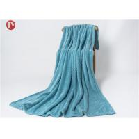 Buy cheap Flannel Knitted Polyester Fleece Blanket Super Soft Blue Wavy Mink Blanket Soft Warm from wholesalers