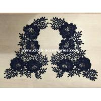 Buy cheap Floral Black Crochet Lace Collar Applique Big 100% Polyester For Knitting Wear from wholesalers