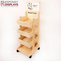 Buy cheap Wooden Three Basket Mobile Portable Candy Floor Display Rack with Wheels from wholesalers