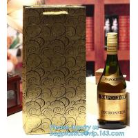 Buy cheap wine paper bag with handles,luxury glossy wine bottle gift paper bags,Gold Wine Gift Paper Bag with Ribbon Handles pack from wholesalers