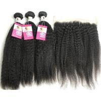 Buy cheap 13x4 Lace Frontal Kinky Straight 10A Grade Remy Hair Peruvian Human Hair Weave from wholesalers
