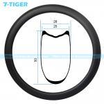 Buy cheap 7-tiger 700C carbon bike rims 50 x 25 mm profile tubular rims wide tire design High TG epoxy resin U shape system from wholesalers