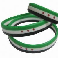 Buy cheap Promotional Silicone Bracelets with Logo Printing, Available in Various Shapes from wholesalers