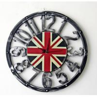 Buy cheap Retro Vintage Large Clock UK British Flag Home Living Room Hollow Wall Clock Home Office Cafe Bar Wall Decoration from wholesalers