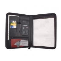 Buy cheap Business Zippered Padfolio w Calculator, Notepad Organizer Leatherette Black from wholesalers