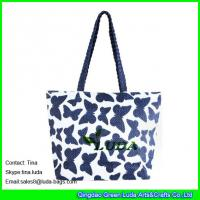Buy cheap LUDA navy blue nice handbags butterfly print straw beaach tote bags promotion from wholesalers