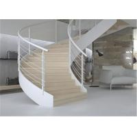 Buy cheap Building Interior Curved Stairs Double U Channel Stringer With Tempered Glass Railing from wholesalers