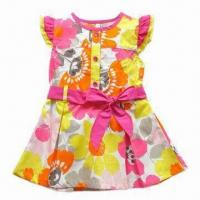 Buy cheap Pretty/Girls' Dress with Bowknot, Children's Cloth/Wear, Made of 100° Cotton from wholesalers