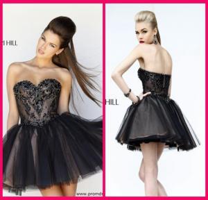 Black Short Long Homecoming Dresses Sweetheart , Mini Short Beading Cocktail Dresses Manufactures