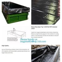 Buy cheap 20 yard drawstring black dumpster container liners for waste transport,stripe high quality waterproof bulk dumpster cont from wholesalers