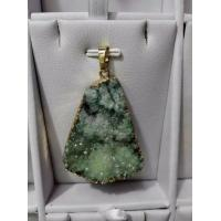 Natural Tiny Druzy Agate Pendant Freeform Electroplated Waterdrop Shape Glitter