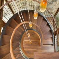 Buy cheap Top Grade Residential /Commercial Prefabricated Beautiful Stainless Steel wooden Curved Stairs from wholesalers